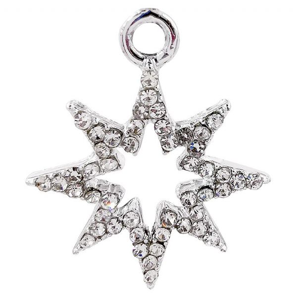 8 Pointed Clear Pave Crystal Star 19x23mm